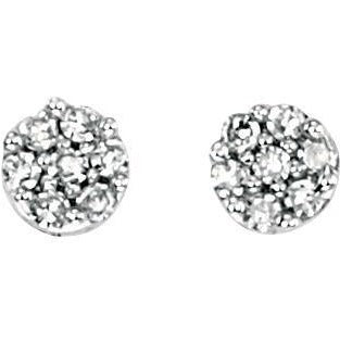 9ct white gold and diamond pave round stud earrings