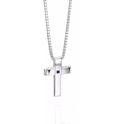Silver cross necklace with sapphire