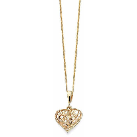 9ct yellow gold wire wrapped heart necklace