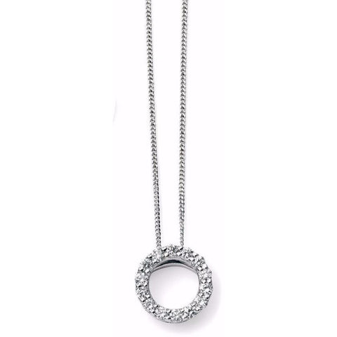 9ct white gold and diamond open circle necklace