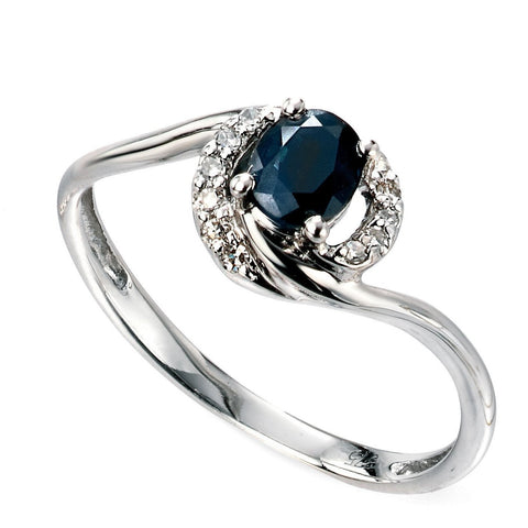 9ct white gold twist ring with blue sapphires and diamonds