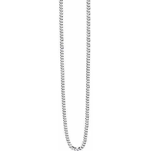 Steel diamond cut curb necklace