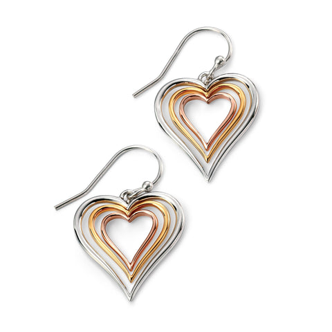 Rose gold, yellow gold & rhodium plated heart earrings
