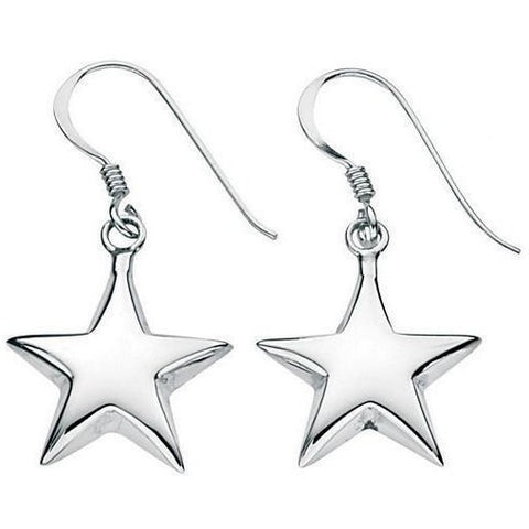 Silver puffed star drop earrings