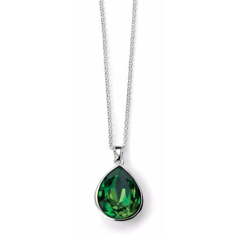 0.1 NO IMAGE Fern Green Pear Shape Swarovski Crystal necklace