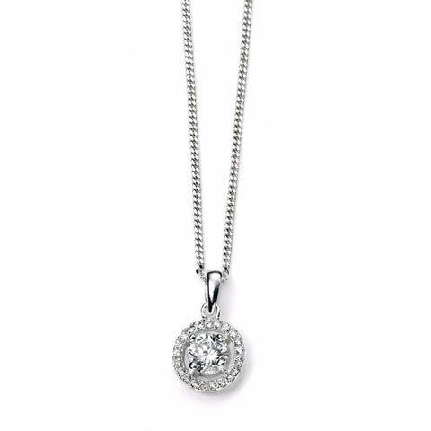 Silver disc necklace with pave cubic zirconia