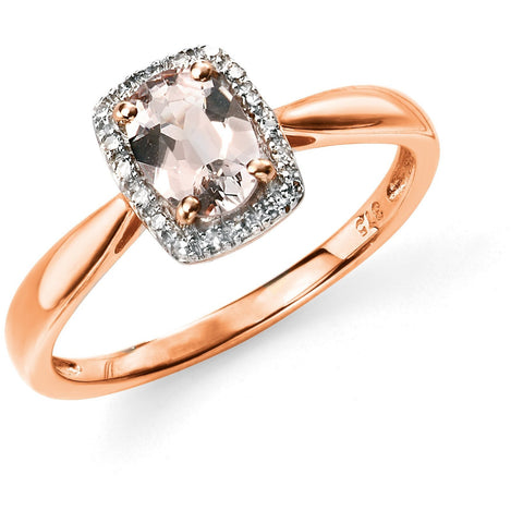 Rose gold, diamond and morganite ring