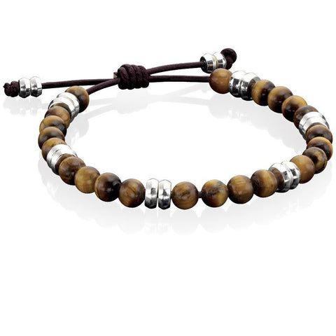 Tigers eye and brown leather bracelet
