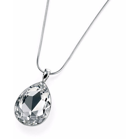 Clear Swarovski Crystal teardrop necklace