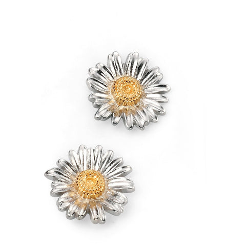 Gold and rhodium plate daisy stud earrings