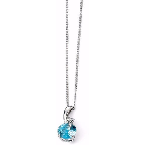 Blue topaz, diamond and white gold necklace