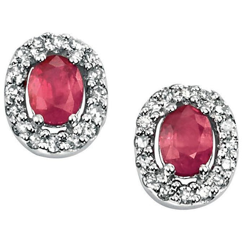 Ruby, diamond and white gold earrings