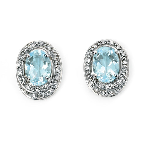 Diamond, aquamarine and white gold earrings