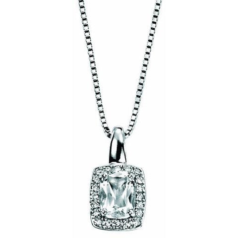 9ct white gold necklace with white topaz and diamonds