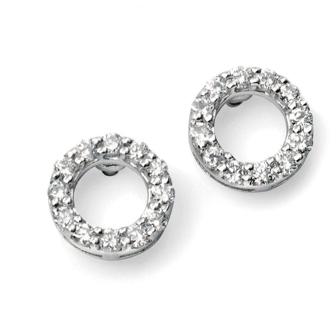 9ct white gold and diamond open circle earrings