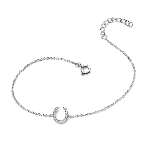 Silver horse shoe and pave cubic zirconia bracelet