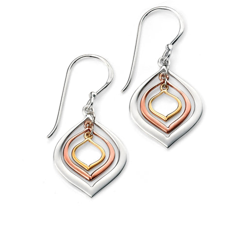 Rose gold, yellow gold and silver lantern drop earrings