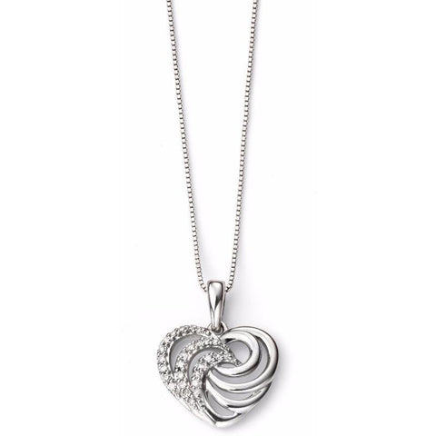 White gold and diamond heart swirl necklace