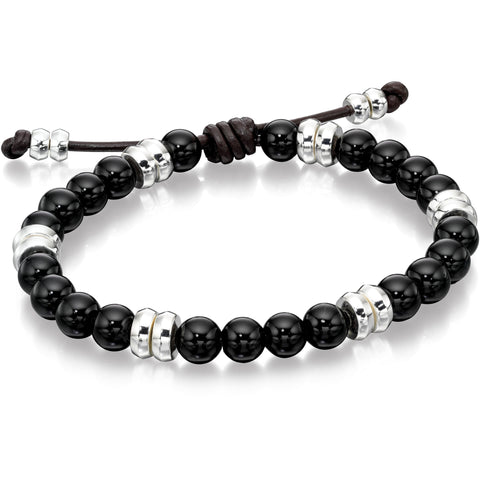 Silver and black onyx beaded bracelet