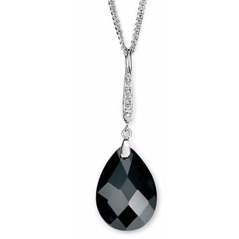 Black cubic zirconia teardrop necklace