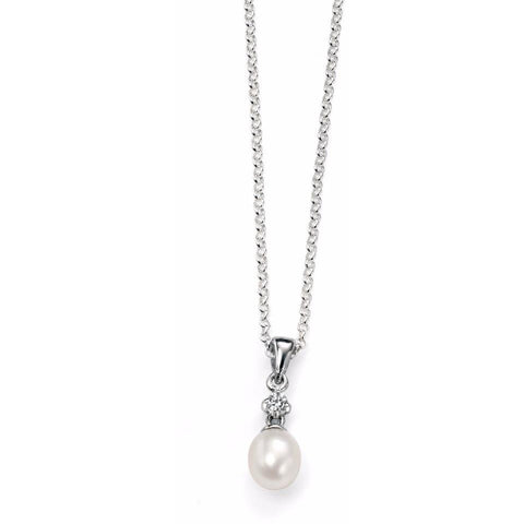 0.1 NO IMAGE White Pearl necklace with CZ