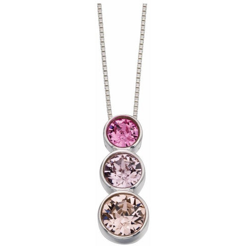 Triple Rubover Swarovski necklace Rose, Light Amethyst And Vintage Rose