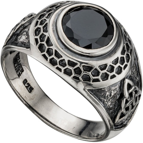 Silver and black cubic zirconia celtic style ring