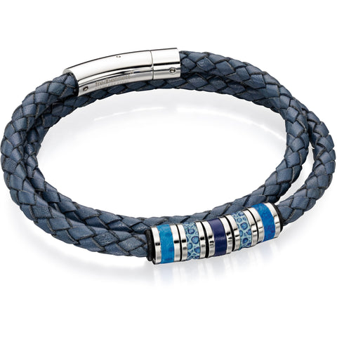 Blue and grey double wrapped leather bracelet