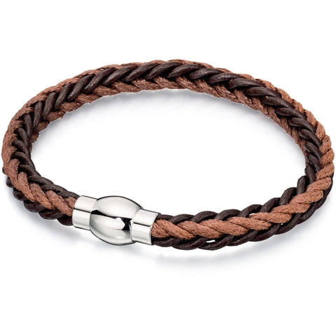Brown leather and cord bracelet in square plait
