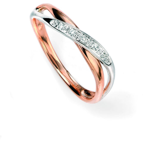 9ct white and rose gold diamond paved twist ring