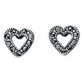 0.3 TO DELETE E3211 Marcasite Open Heart Stud Erng