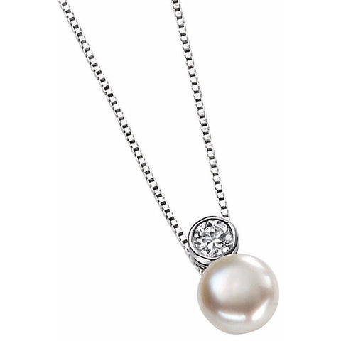 White pearl and cubic zirconia drop necklace