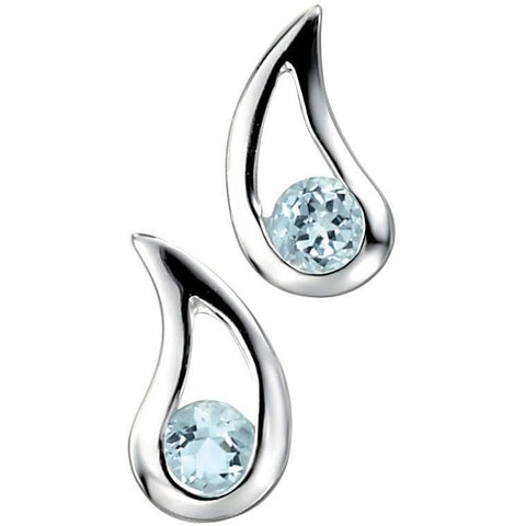 Blue topaz and silver teardrop earring