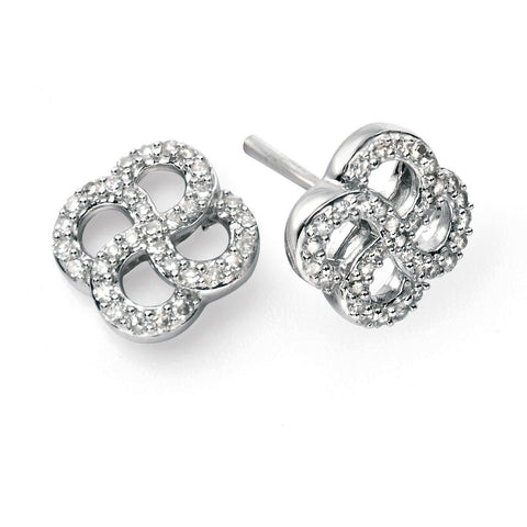 9ct white gold and diamond crossover earrings