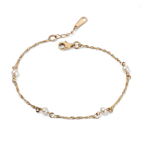 9ct Yellow Gold Twist Chain Pearl Bracelet