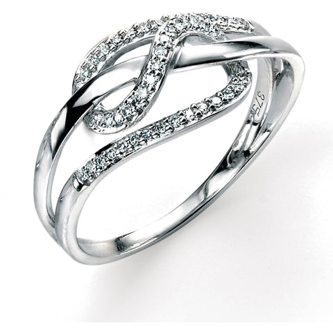 9ct white gold and diamond looped ring