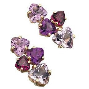 9ct Yellow Gold Rose De France Amethyst, Amethyst and Brazilian Garnet Earring