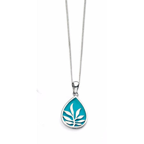 Blue enamel leaf teardrop necklace
