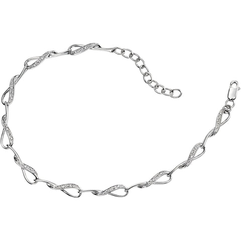 9ct white gold interlocking loop bracelet with pave set diamonds