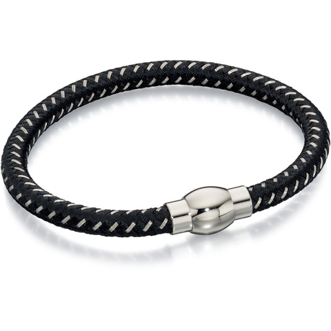Black and grey nylon bracelet with steel