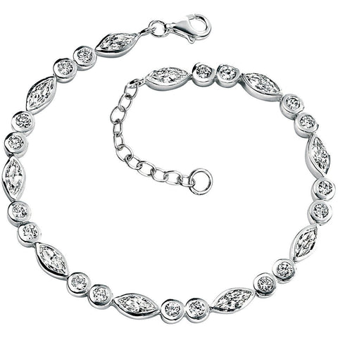 Silver and marquise cubic zirconia bracelet