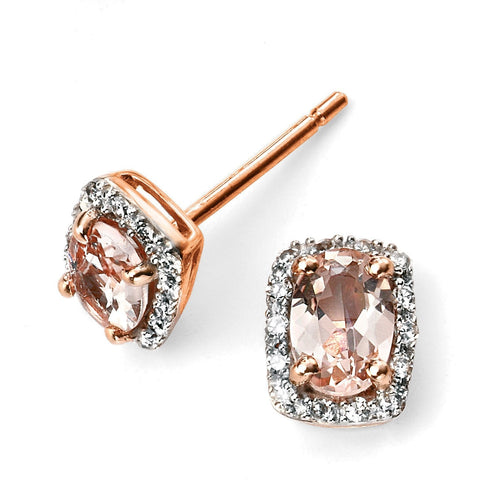 Elements Gold 9ct rose gold diamond and morganite earring