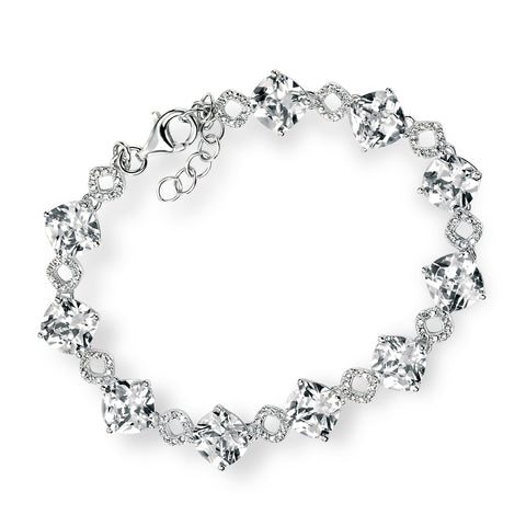 Bracelet with clear cushion cut cubic zirconia