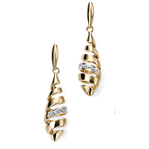 9ct yellow gold spiral drop earrings with diamonds