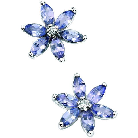 Tanzanite, diamond and white gold flower stud earrings
