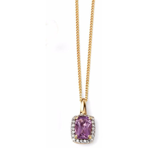 9ct yellow gold and amethyst cushion necklace with diamond detailing