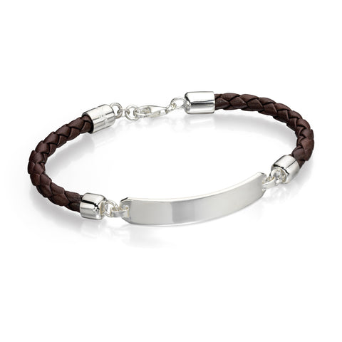 Silver and leather ID bracelet
