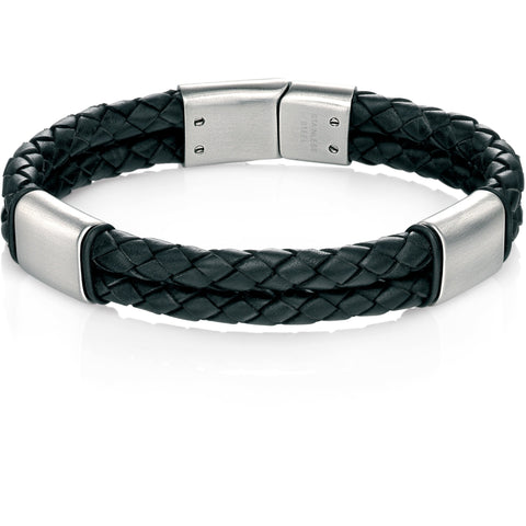 Black leather bracelet with brush finish