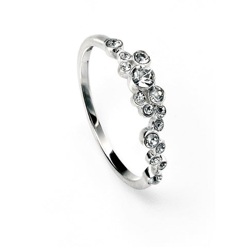 Silver and Swarovski crystal cluster ring