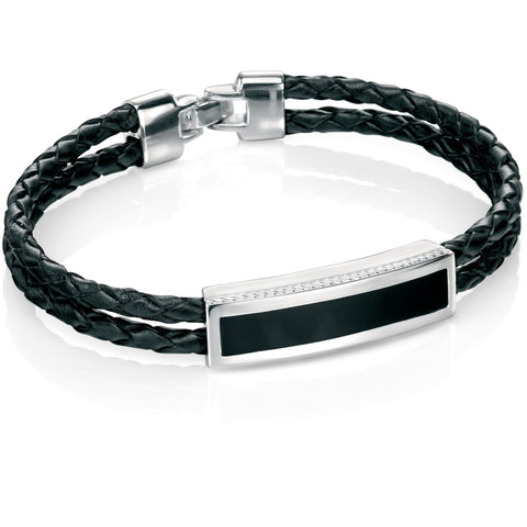 Black agate, silver and leather woven bracelet
